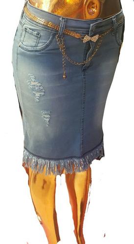 5cc4757f8 Pollera Jean Elastizada De Mujer Con Rotura Hasta Talle 60 en venta ...