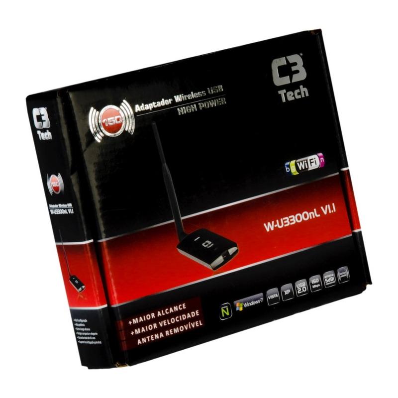 ADAPTADOR REDE SEM FIO USB COM ANTENA 600MW C3TECH W-U3300NL