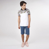 Camisa Blanca Con Estampado Multicolor 019294