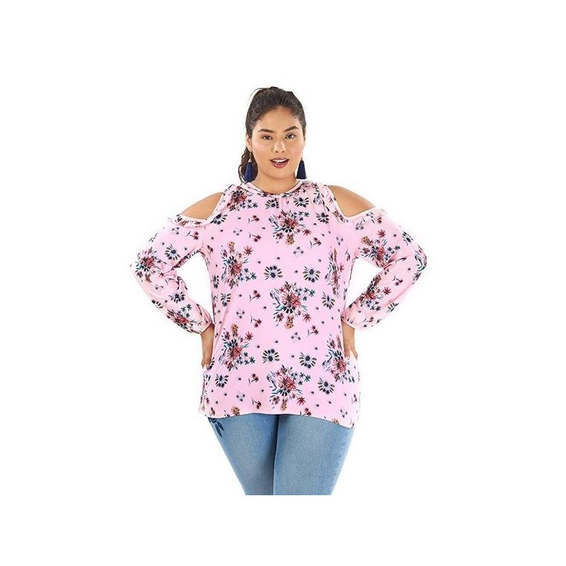 Blusa rosa hombro descubierto estampada 014456P