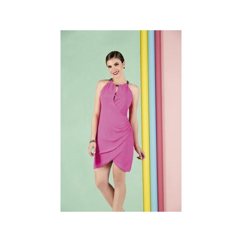 Vestido corto rosa sin manga 010260