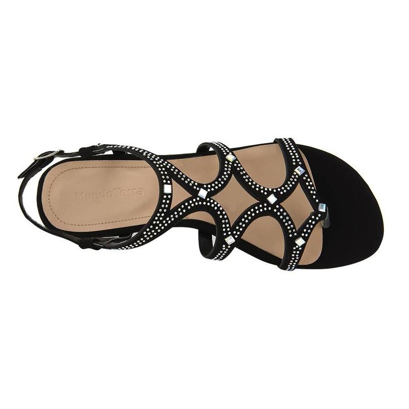 Sandalia De Tacón Negra Con Nudo 020256