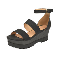Sandalia plataforma negra con pulseras 015714