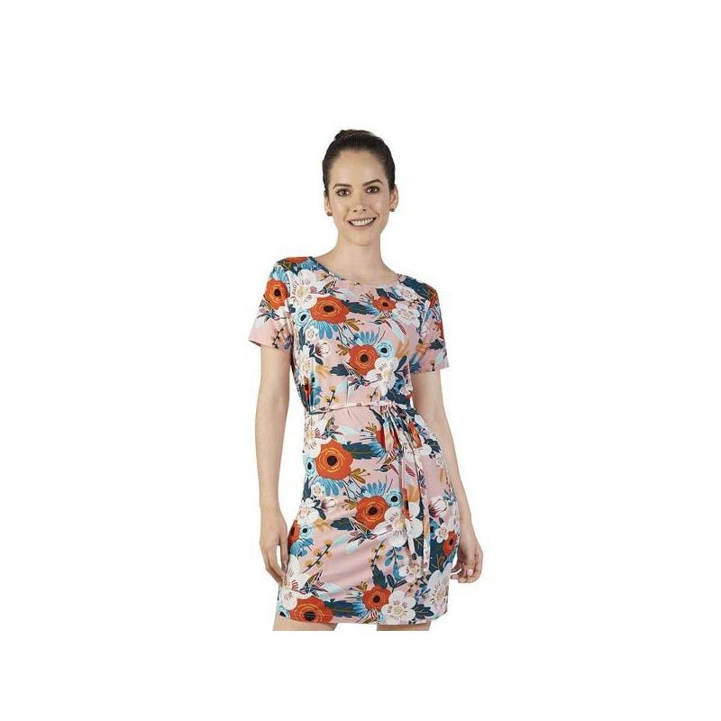 Vestido corto rosa multicolor 015180
