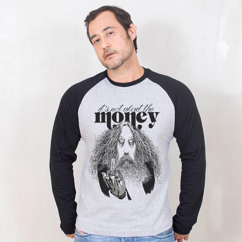 MANGA LONGA RAGLAN CINZA - IT'S NOT ABOUT THE MONEY