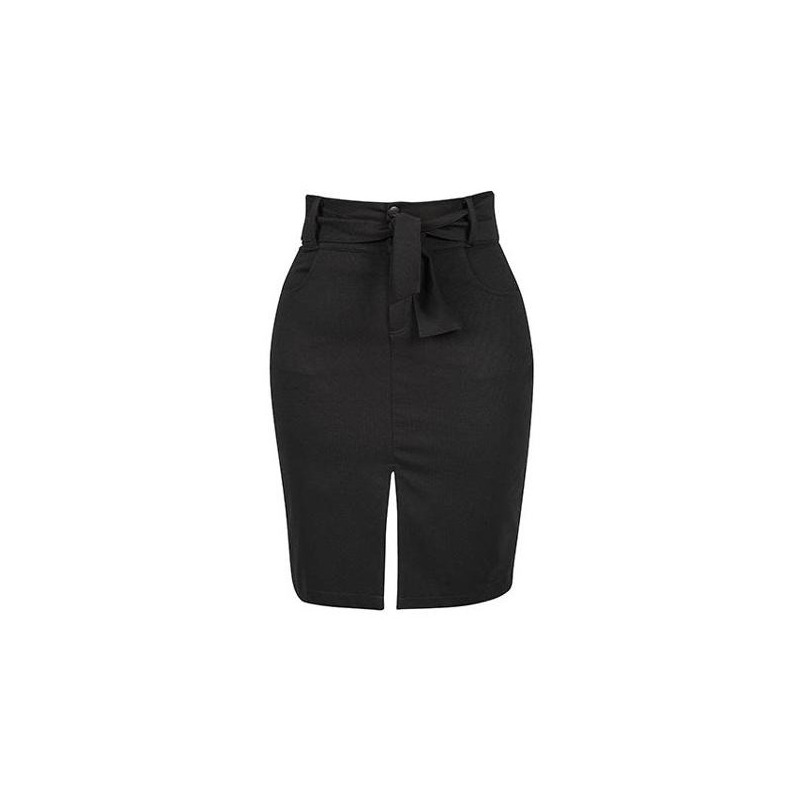 Falda corta negra con listón  012615