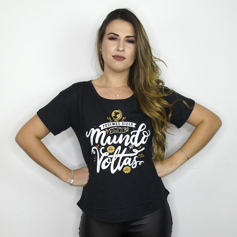 CAMISETA PRETA - O MUNDO DA VOLTAS