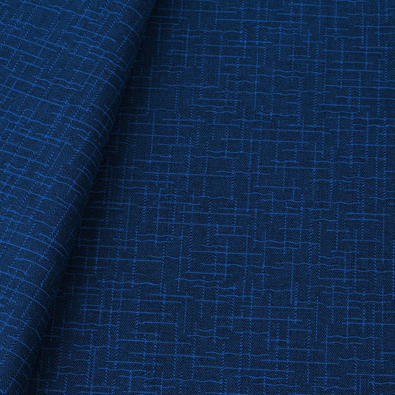 Tecido jacquard para sofá falso liso - preto/azul - Impermeável - Coleção Panamá