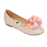 Flats rosas con flor de tela 018767
