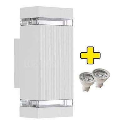 Bidireccional Aluminio Blanco 2 Led Gu10 Exterior Frentes
