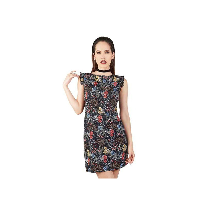 Vestido negro multicolor estampado 015152