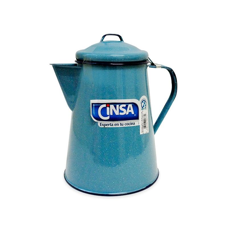 Cafetera con tapa 3 litros peltre azul turquesa cinsa 368886