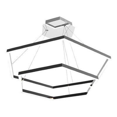 Lampara Colgante Led  Hexa Doble 60+40cm 66w  Luz Desing