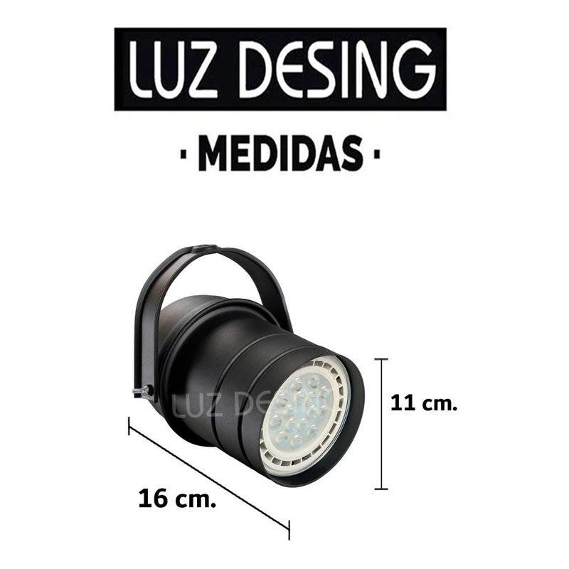 Spot Cabezal Cañon Negro Apto Led Ar111 Riel Deco Moderno