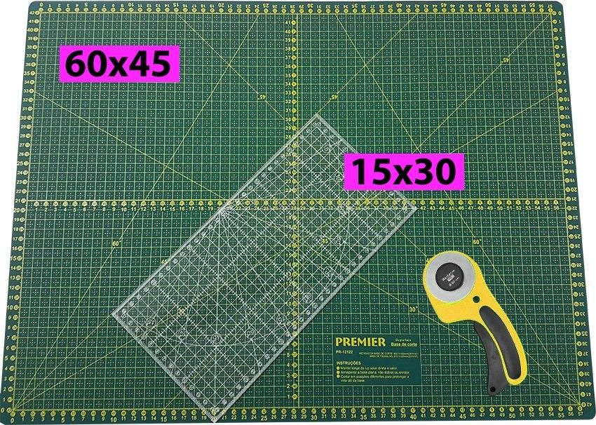 Base de Corte Premier 60x45 + Régua 15x30 + Cortad...