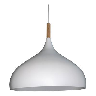 Colgante Moderno Proi Blanco Nordico Con Madera Apto Led