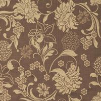 Tecido jacquard floral - marrom/caqui -  Impermeável - Coleção Panamá