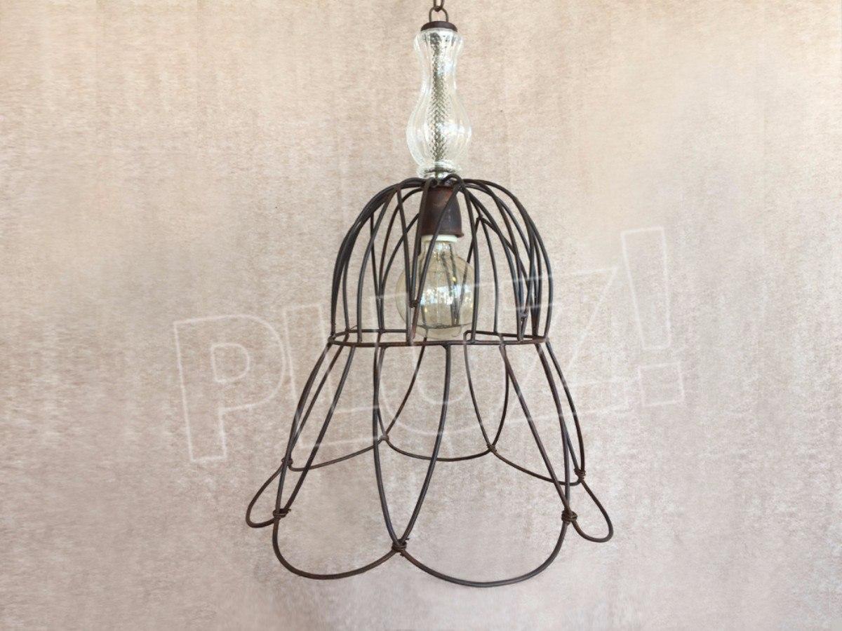 Lámpara Colgante Cuello con Vidrio - Jaula Hierro ...