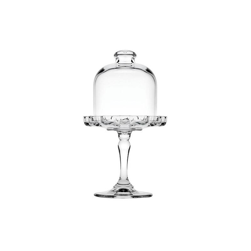 Prato p/ Bolo (Mini Patisserie) de vidro c/ tampa e pé 18,7cm - Patisserie