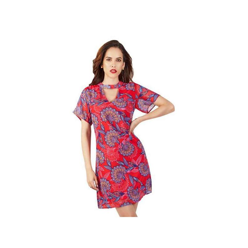 Vestido corto rojo multicolor 015421
