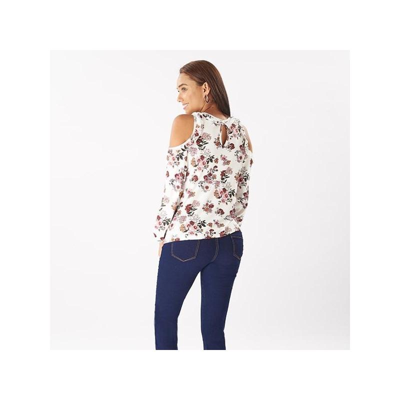 Blusa rosa estampada manga larga 014456
