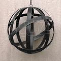 Lámpara Colgante Esfera - Jaula Chapa Hierro Negro