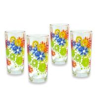 Jgo 4 Vasos Flores Crisa 3503827