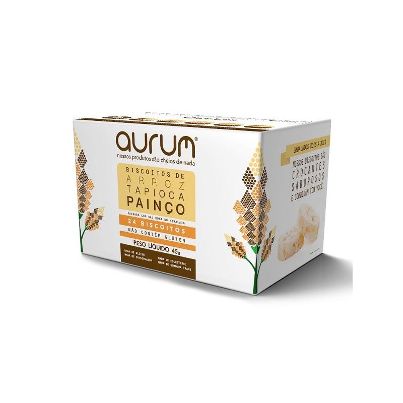 Biscoito de Arroz com Tapioca Painço Sal Rosa - 45g Aurum