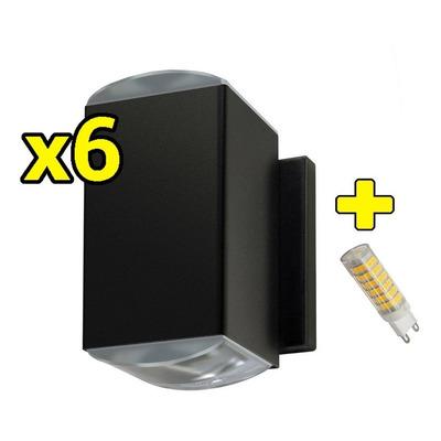 Pack X 6 Bidireccional 2 Lente Óptico Con Led G9 6w Exterior