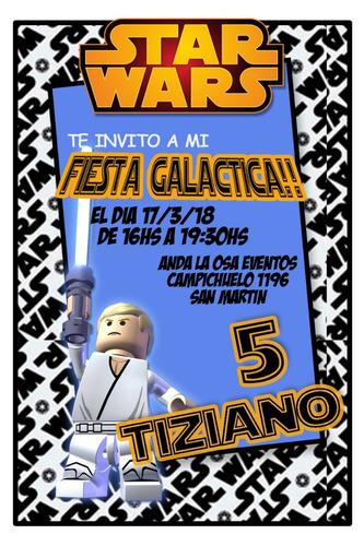 Tarjetas Invitaciones Cumpleaños Star Wars Lego X10uni En