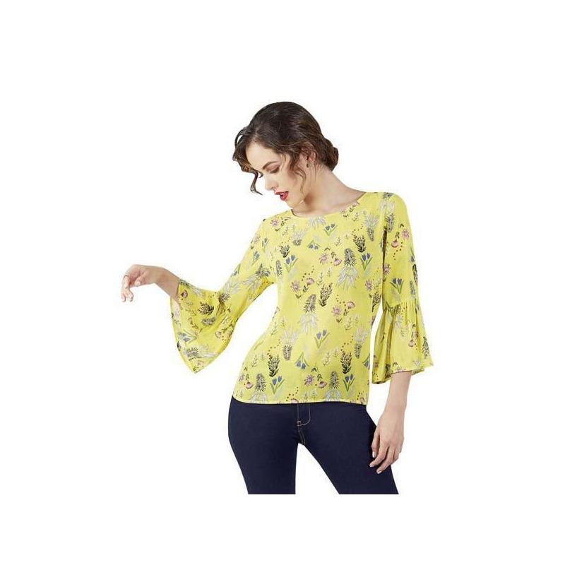 Blusa amarilla multicolor manga 3/4 015164