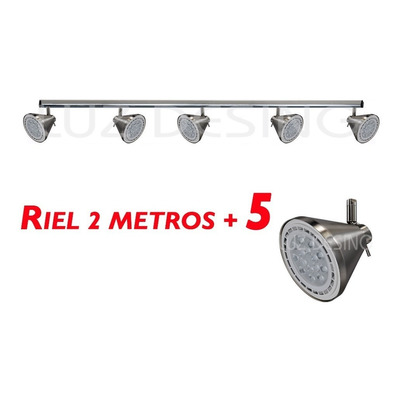 Riel 2 Metros 5 Spot Acero Conico Apto Led Ar111 Luz Desing