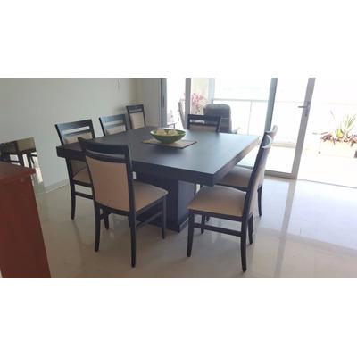 Comedor guatambu mesa 1'40x1'40   ocho sillas tapizadas prom ...