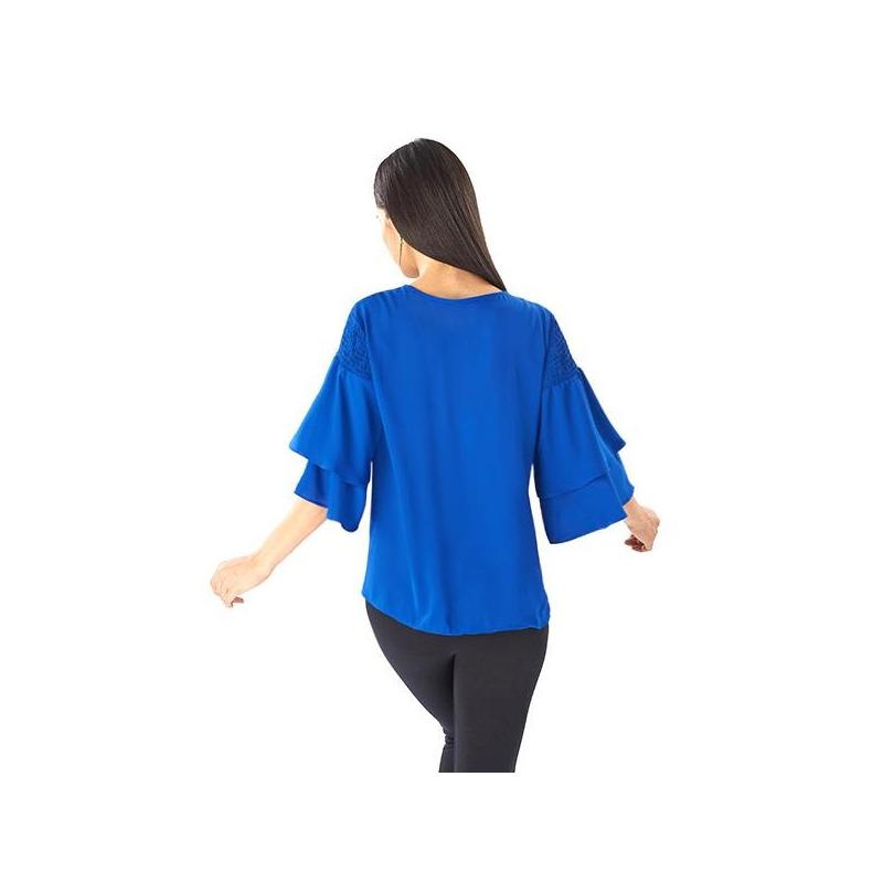 Blusa azul olanes manga 3/4 019195