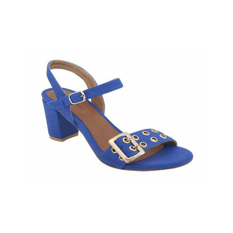 Sandalia tacón azul con dorado 016053