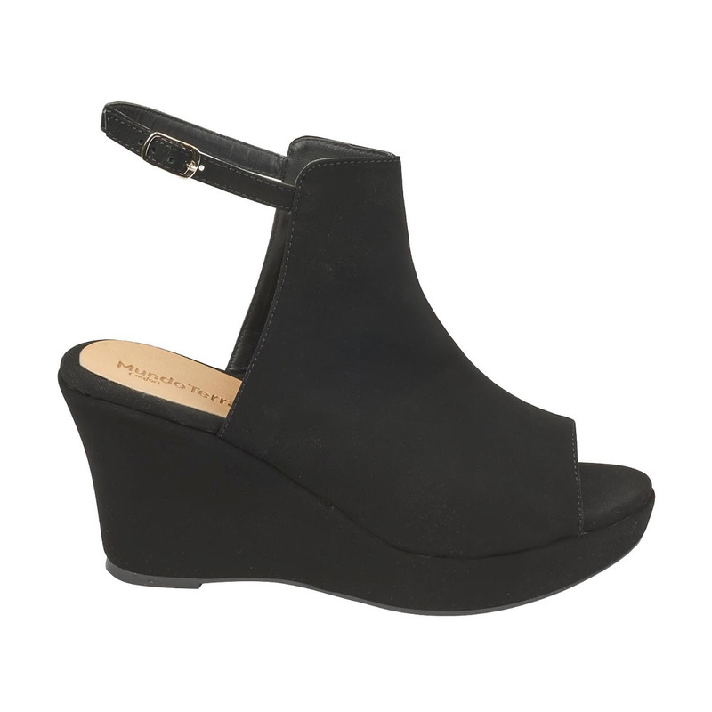 Sandalia plataforma negra gamuza  016607