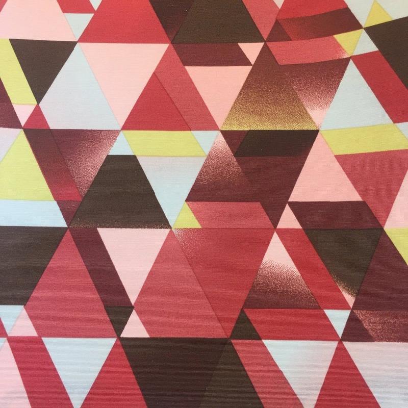 Tecido Impermeável triângulos evolution vermelho Larg.1,42 M