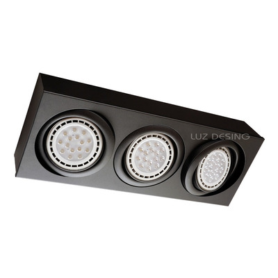 Plafon 3 Luces Cardanico Negro Apto Led Ar111 Movil Gam 5020