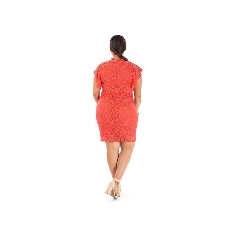 Vestido corto encaje coral manga corta 014393P