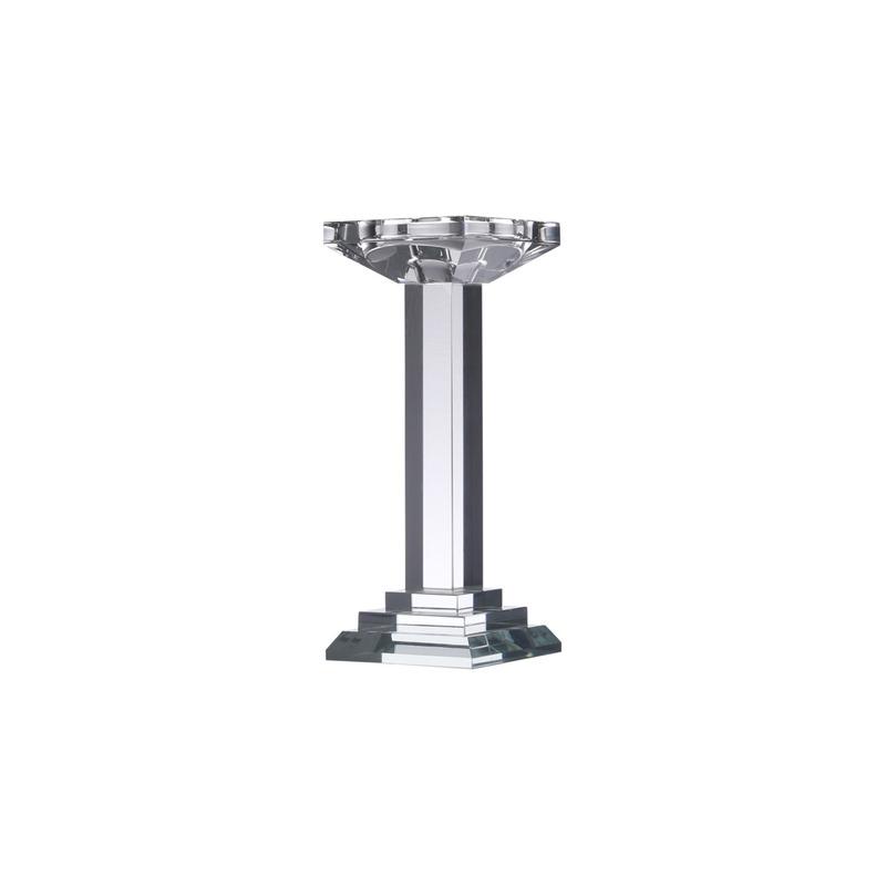 Castiçal de Vidro Óptico Pillar 9X9X23Cm - Prestige 3102423