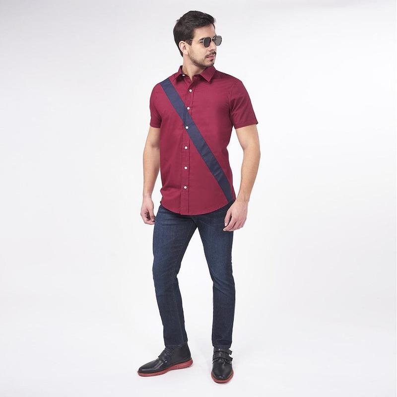 Camisa Vino Con Linea Cruzada 019525