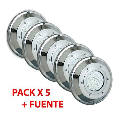 Pack X 5 Subacuatico Piscina Pileta Led Rgb Control Y Fuente