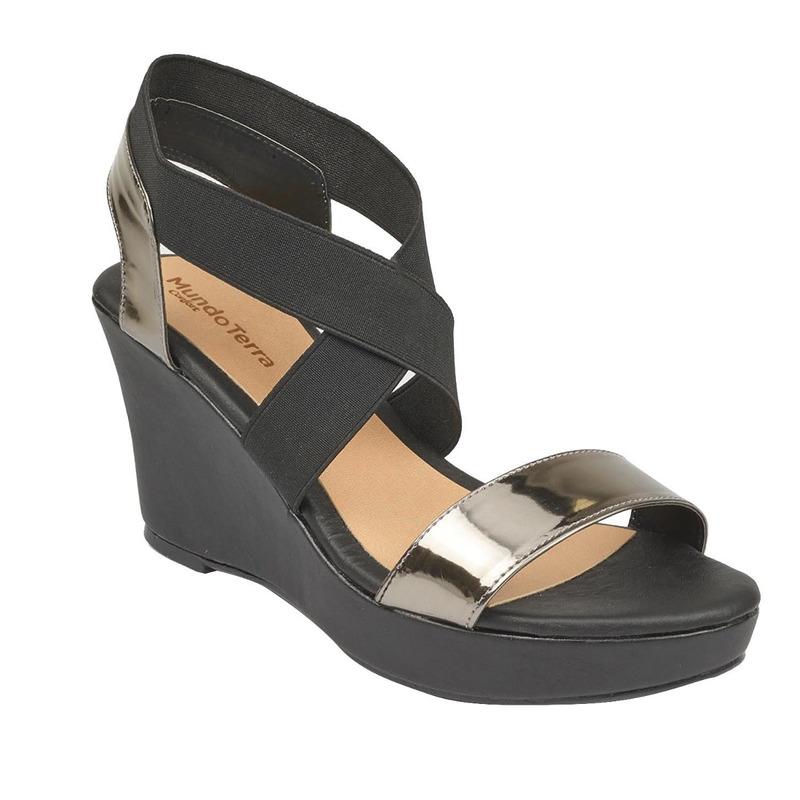 Sandalia plataforma negra charol 016714