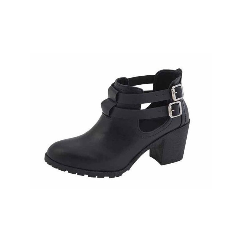 Bota negra con broches 010997