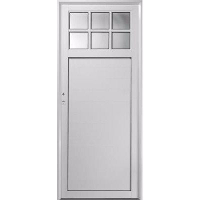 Puerta exterior aluminio blanco 1 4 vidrio repartido 80x200 aberturas leo for Puerta exterior aluminio y cristal