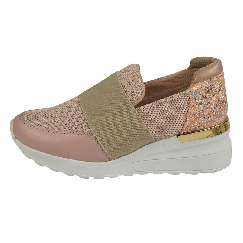 Sneakers rosas con brillos y franja 017377