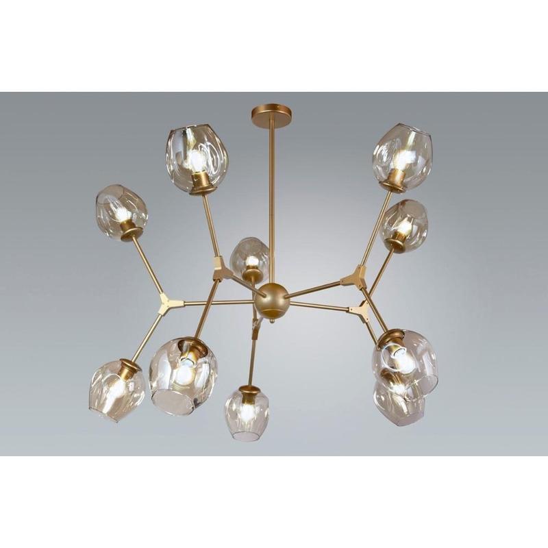 Lampara Colgante Amber 10 Luces Dorado Apto Led Moderno Gmg