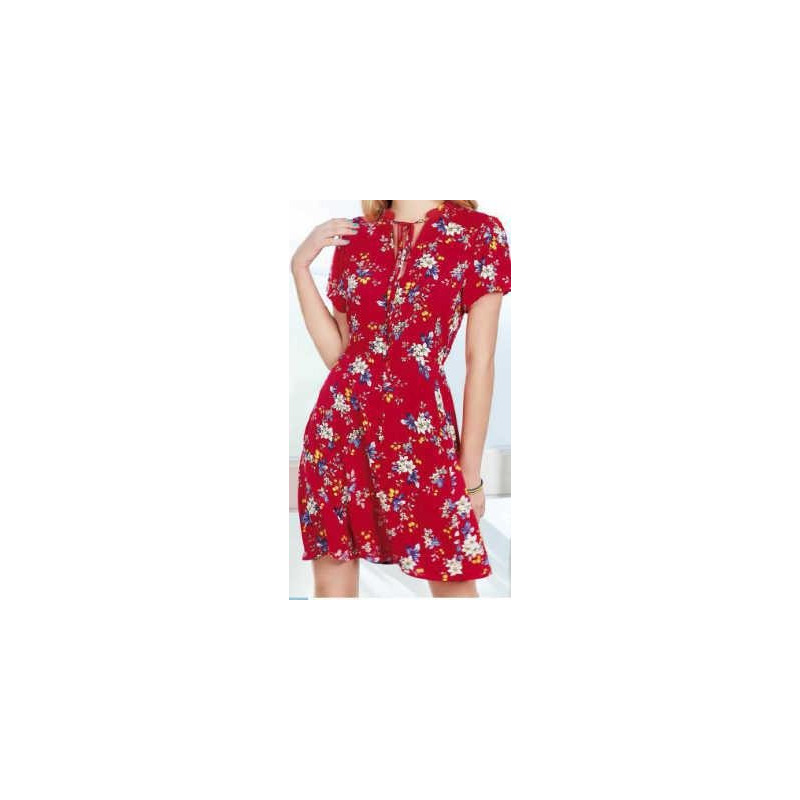 Vestido corto rojo multicolor 015172