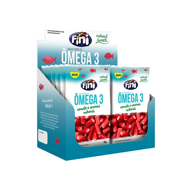 Balas de Gelatina Natural Sweets omega 3 - Cx.12x18g Fini
