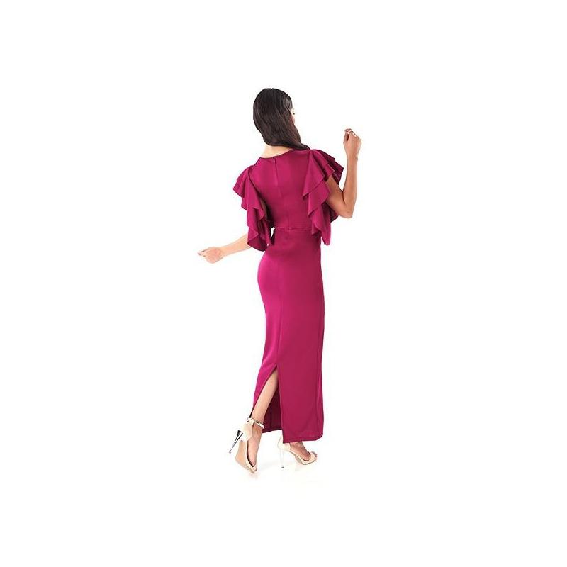 Vestido largo fiusha olanes mangas 014500